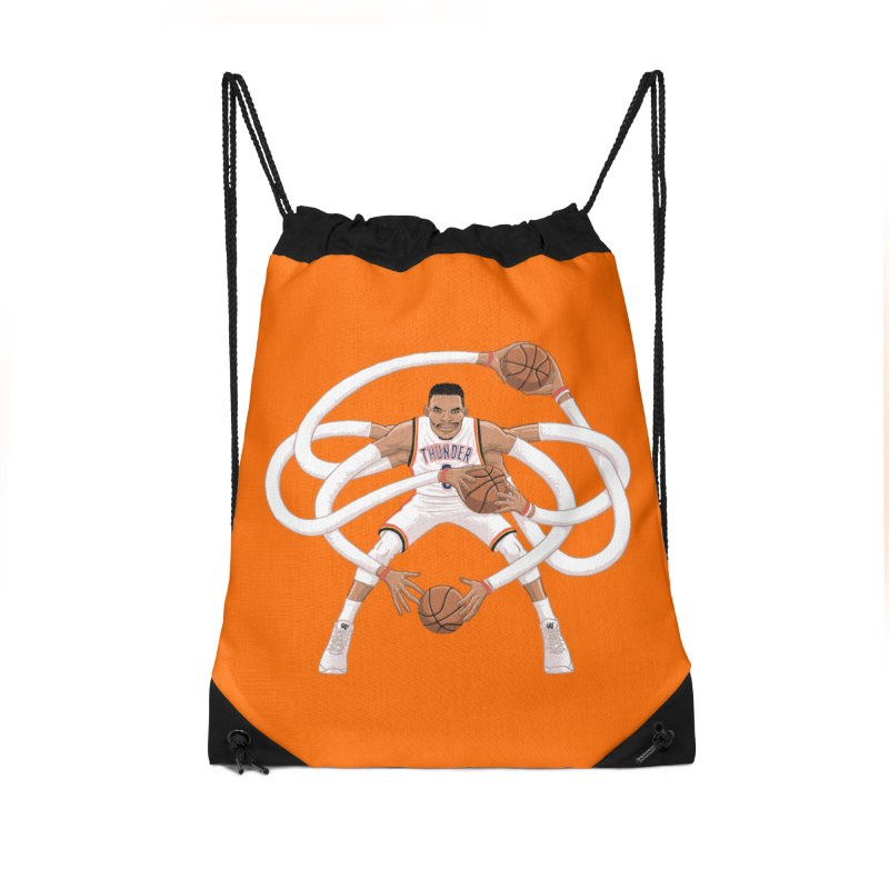 "Russell ""Mr. Triple Double"" Westbrook - Home kit Accessories Drawstring Bag Bag by dukenny's Artist Shop"