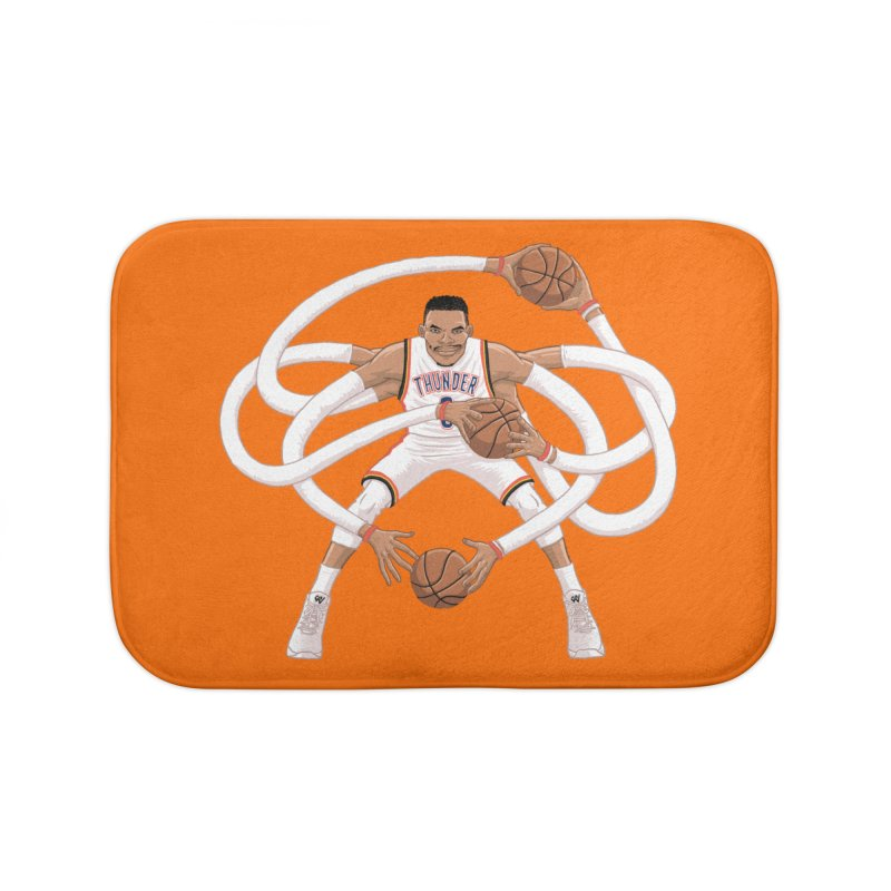 "Russell ""Mr. Triple Double"" Westbrook - Home kit Home Bath Mat by dukenny's Artist Shop"