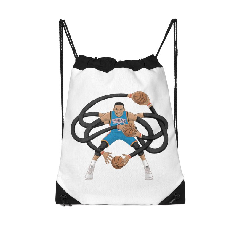 "Russell ""Mr. Triple Double"" Westbrook - road kit Accessories Drawstring Bag Bag by dukenny's Artist Shop"