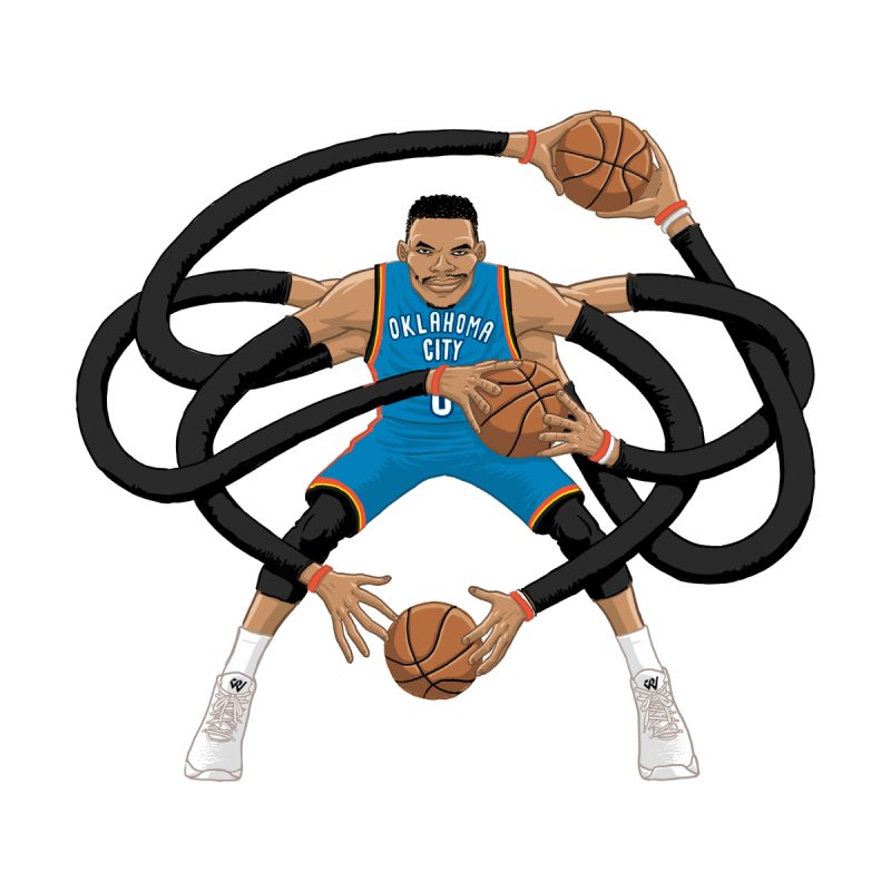 "Russell ""Mr. Triple Double"" Westbrook - road kit Kids Pullover Hoody by dukenny's Artist Shop"