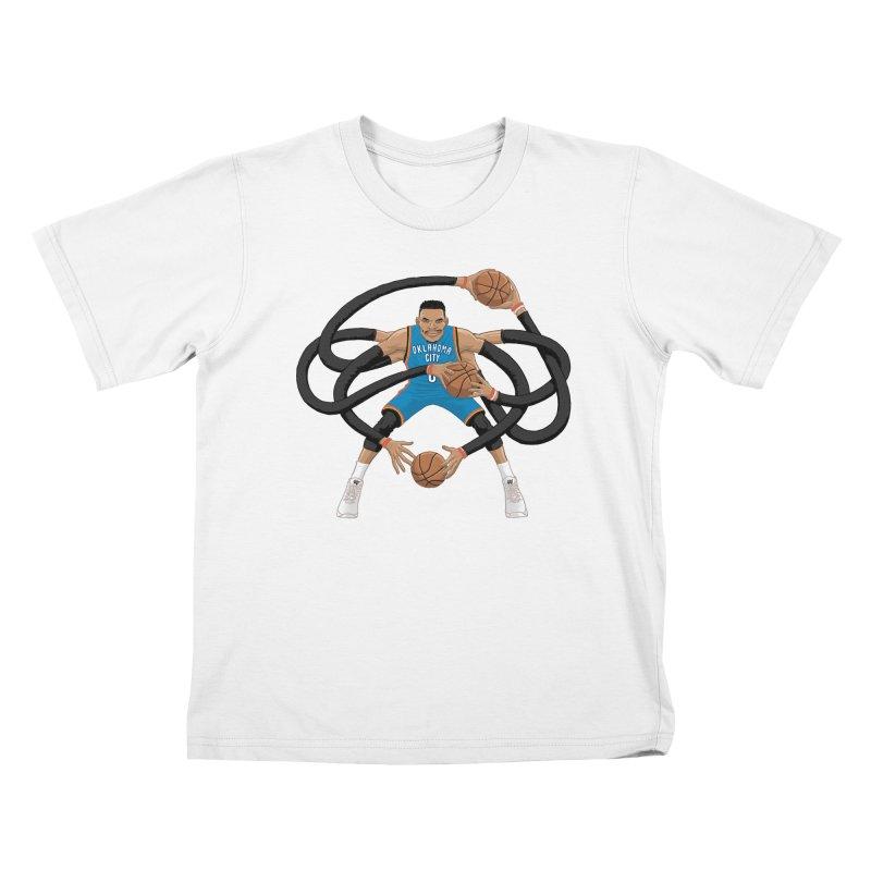 "Russell ""Mr. Triple Double"" Westbrook - road kit Kids T-Shirt by dukenny's Artist Shop"