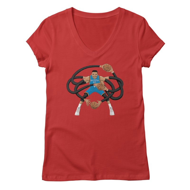 "Russell ""Mr. Triple Double"" Westbrook - road kit Women's Regular V-Neck by dukenny's Artist Shop"