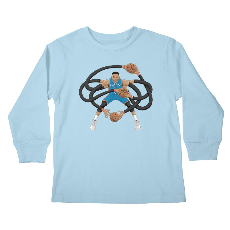 "Russell ""Mr. Triple Double"" Westbrook - road kit Kids Longsleeve T-Shirt by dukenny's Artist Shop"