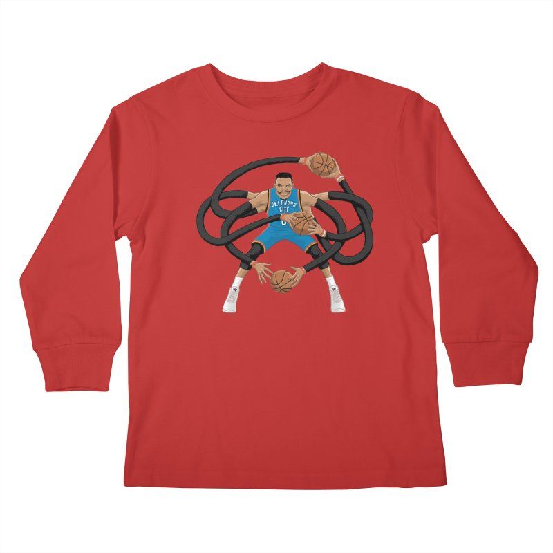 """Russell """"Mr. Triple Double"""" Westbrook - road kit Kids Longsleeve T-Shirt by dukenny's Artist Shop"""