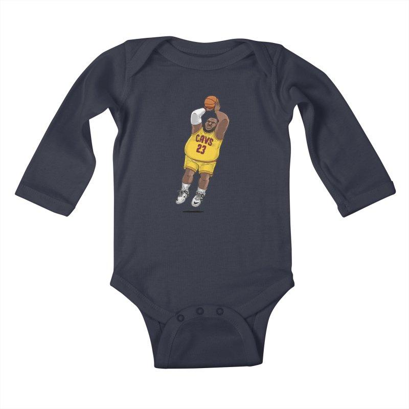 Fat LeBron - a.k.a. LeBrownie Kids Baby Longsleeve Bodysuit by dukenny's Artist Shop