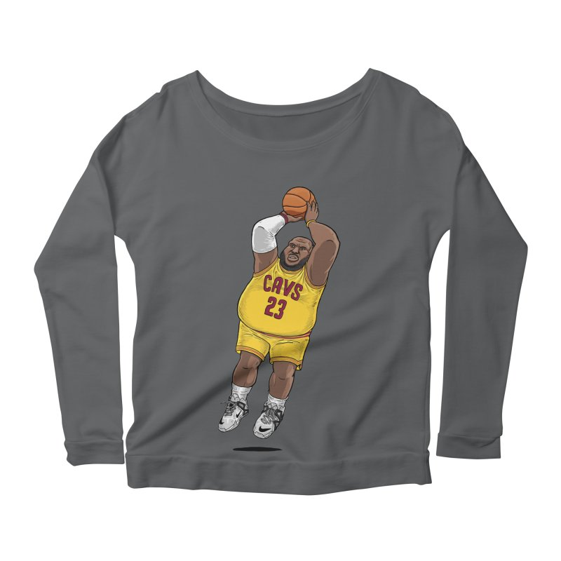 Fat LeBron - a.k.a. LeBrownie Women's Scoop Neck Longsleeve T-Shirt by dukenny's Artist Shop