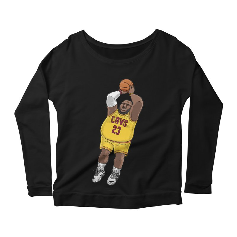 Fat LeBron - a.k.a. LeBrownie Women's Longsleeve Scoopneck  by dukenny's Artist Shop