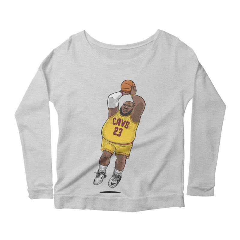 Fat LeBron - a.k.a. LeBrownie Women's Scoop Neck Longsleeve T-Shirt by dukenny's Artist Shop