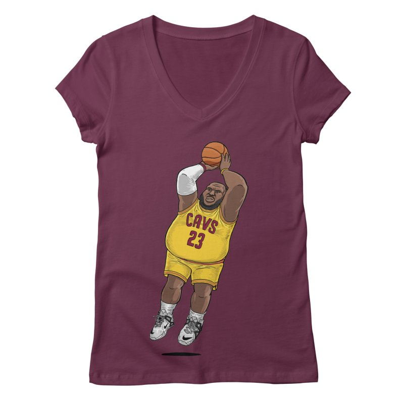 Fat LeBron - a.k.a. LeBrownie Women's V-Neck by dukenny's Artist Shop