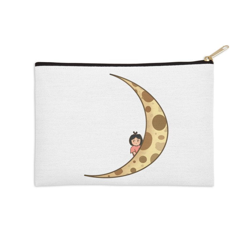 Sweet little girl on the moon Accessories Zip Pouch by DuMBSTRaCK CLoTH iNK PROJECT