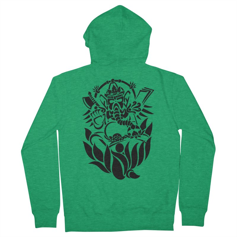 Ganesha One Black Women's Zip-Up Hoody by DuMBSTRaCK CLoTH iNK PROJECT