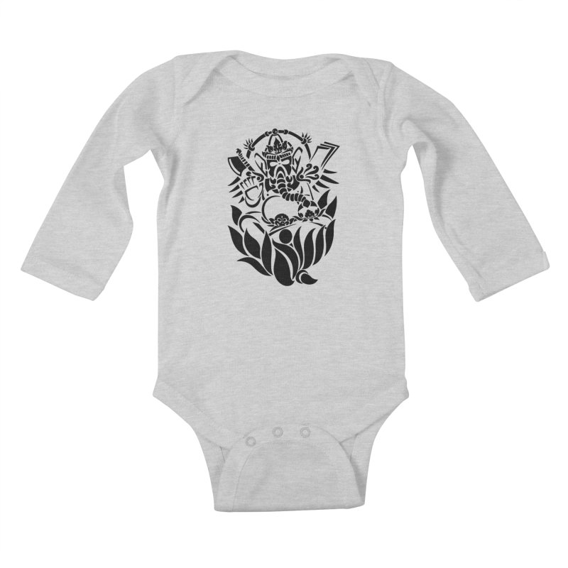 Ganesha One Black Kids Baby Longsleeve Bodysuit by DuMBSTRaCK CLoTH iNK PROJECT