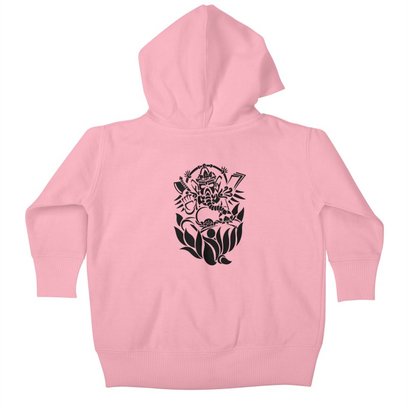 Ganesha One Black Kids Baby Zip-Up Hoody by DuMBSTRaCK CLoTH iNK PROJECT
