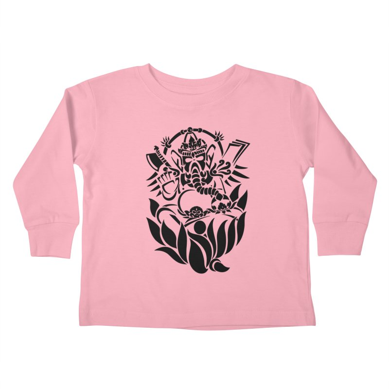 Ganesha One Black Kids Toddler Longsleeve T-Shirt by DuMBSTRaCK CLoTH iNK PROJECT