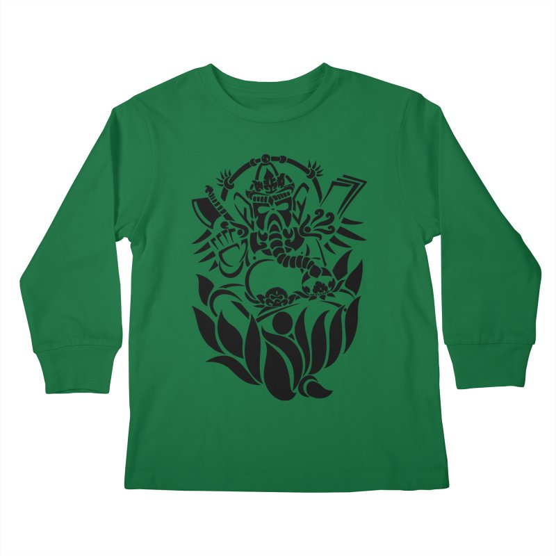 Ganesha One Black Kids Longsleeve T-Shirt by DuMBSTRaCK CLoTH iNK PROJECT
