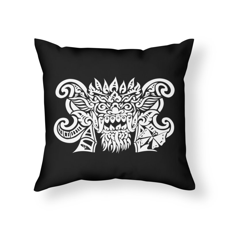 Barong One White Home Throw Pillow by DuMBSTRaCK CLoTH iNK PROJECT