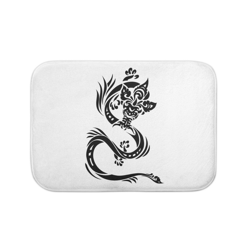 Dragon One Black Home Bath Mat by DuMBSTRaCK CLoTH iNK PROJECT