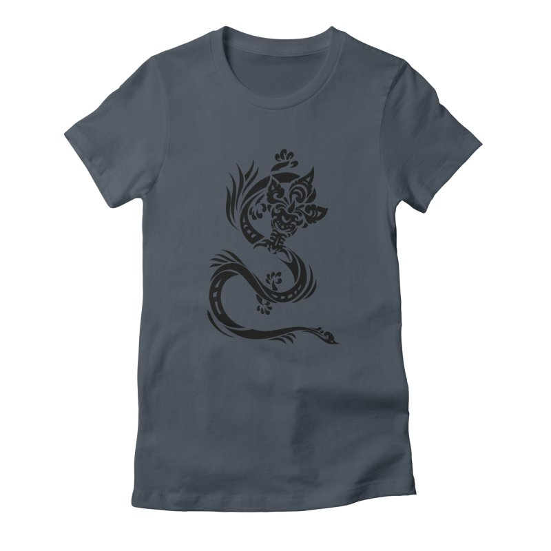 Dragon One Black Women's T-Shirt by DuMBSTRaCK CLoTH iNK PROJECT