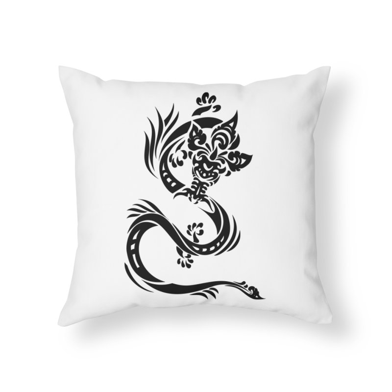 Dragon One Black Home Throw Pillow by DuMBSTRaCK CLoTH iNK PROJECT