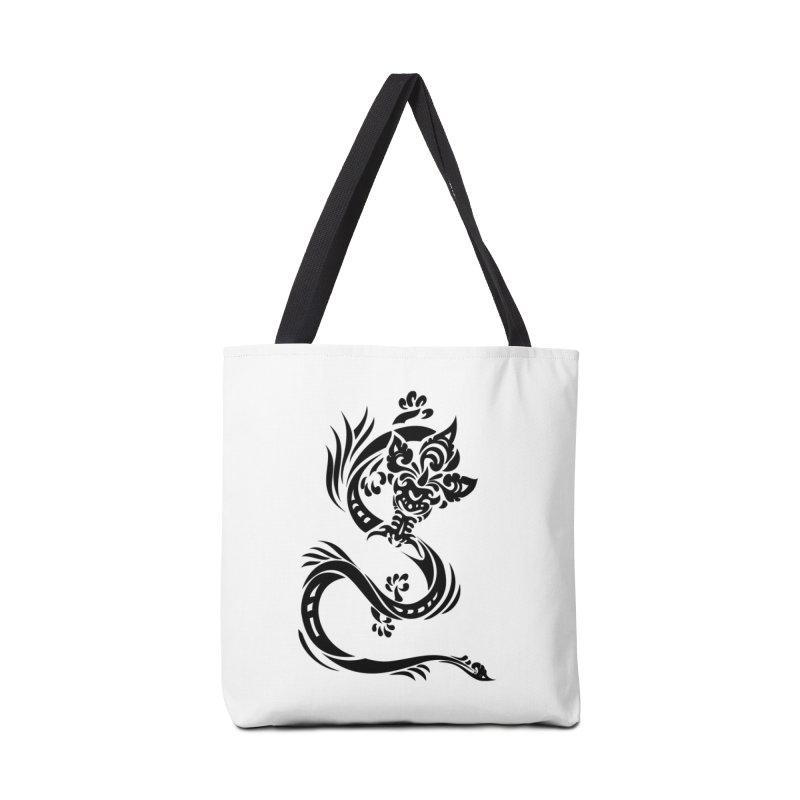 Dragon One Black Accessories Tote Bag Bag by DuMBSTRaCK CLoTH iNK PROJECT