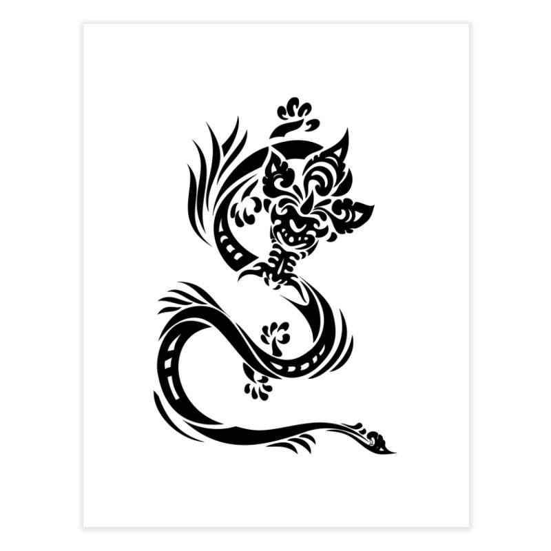 Dragon One Black Home Fine Art Print by DuMBSTRaCK CLoTH iNK PROJECT