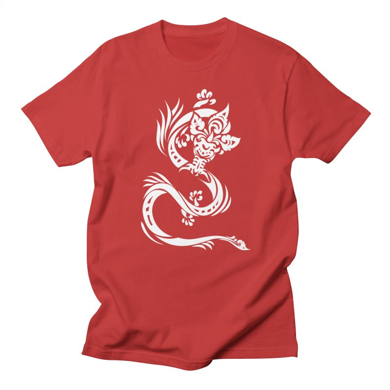 Dragon One White in Men's Regular T-Shirt Red by DuMBSTRaCK CLoTH iNK PROJECT