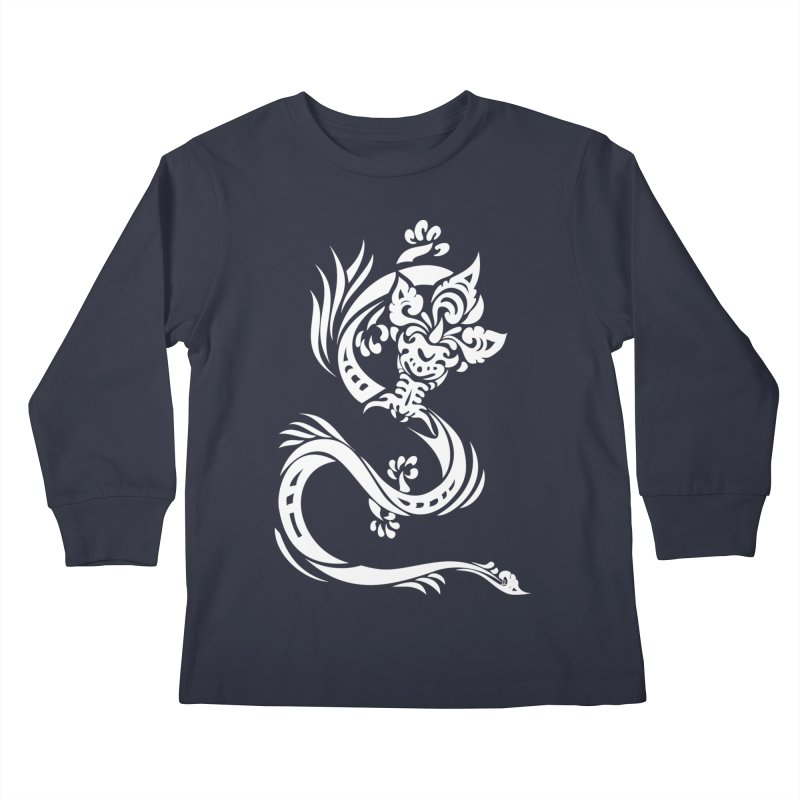 Dragon One White Kids Longsleeve T-Shirt by DuMBSTRaCK CLoTH iNK PROJECT