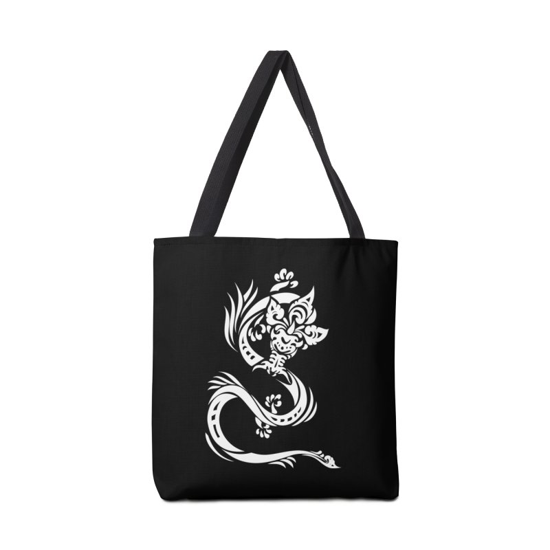 Dragon One White Accessories Tote Bag Bag by DuMBSTRaCK CLoTH iNK PROJECT