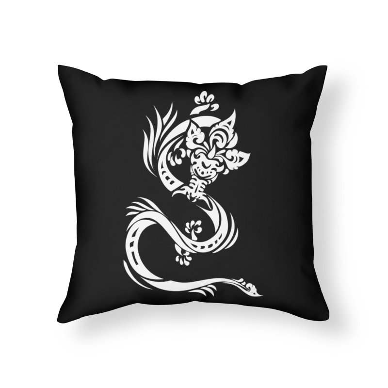 Dragon One White Home Throw Pillow by DuMBSTRaCK CLoTH iNK PROJECT