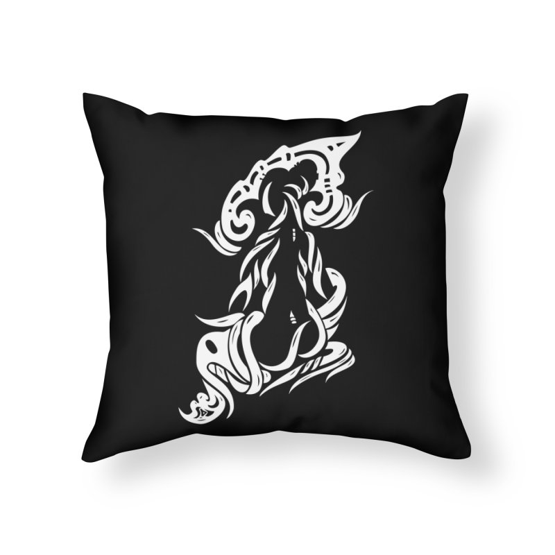 Metamorphosis Of A Girl White Home Throw Pillow by DuMBSTRaCK CLoTH iNK PROJECT