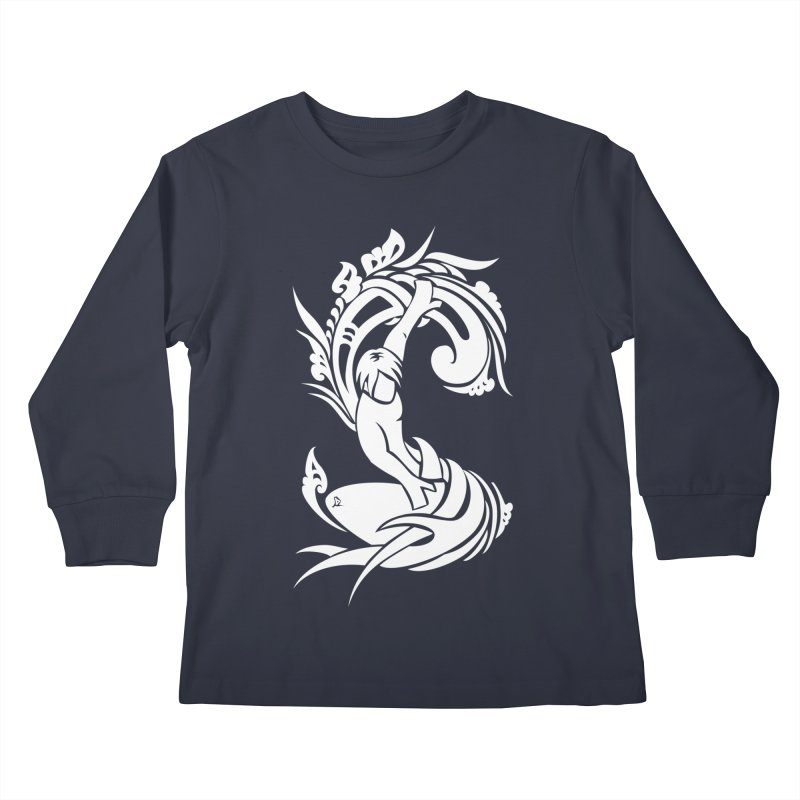 Net Surfer White Kids Longsleeve T-Shirt by DuMBSTRaCK CLoTH iNK PROJECT
