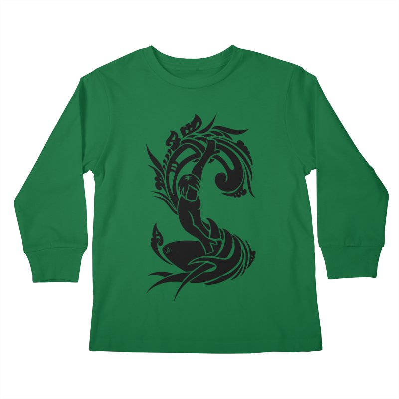 Net Surfer Black Kids Longsleeve T-Shirt by DuMBSTRaCK CLoTH iNK PROJECT