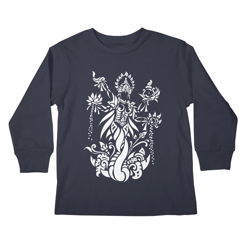 Dewi Lakshmi Kids Longsleeve T-Shirt by DuMBSTRaCK CLoTH iNK PROJECT