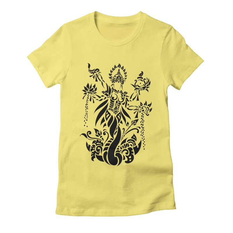 Dewi Lakshmi Women's Fitted T-Shirt by DuMBSTRaCK CLoTH iNK PROJECT