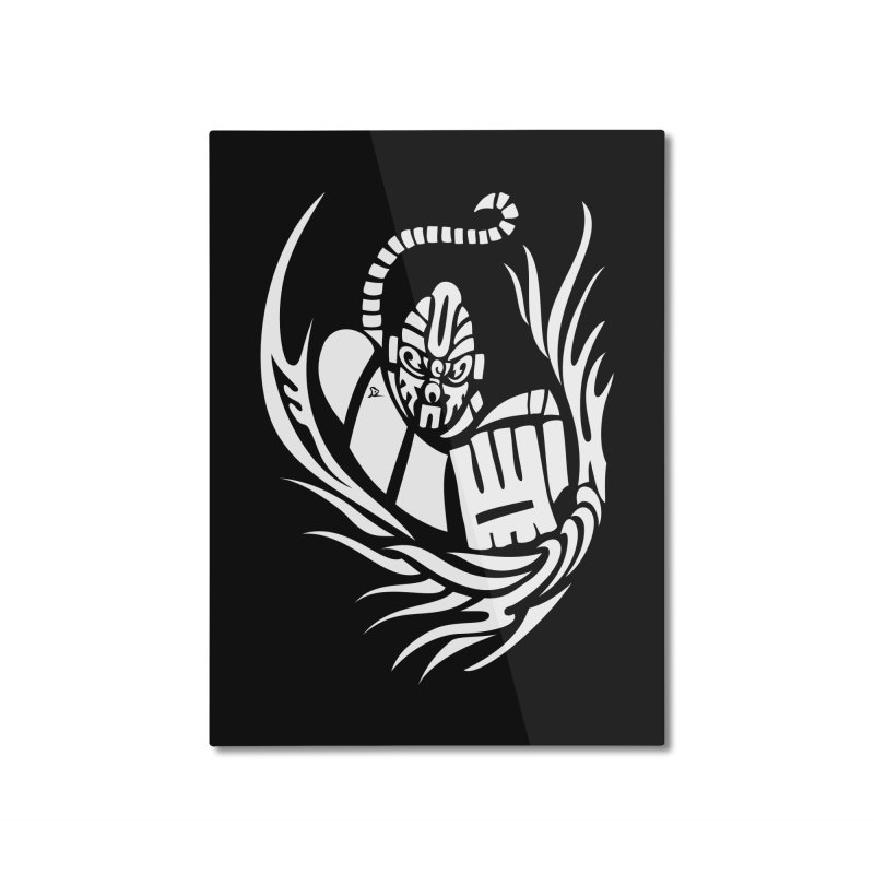 Anokong White Home Mounted Aluminum Print by DuMBSTRaCK CLoTH iNK PROJECT