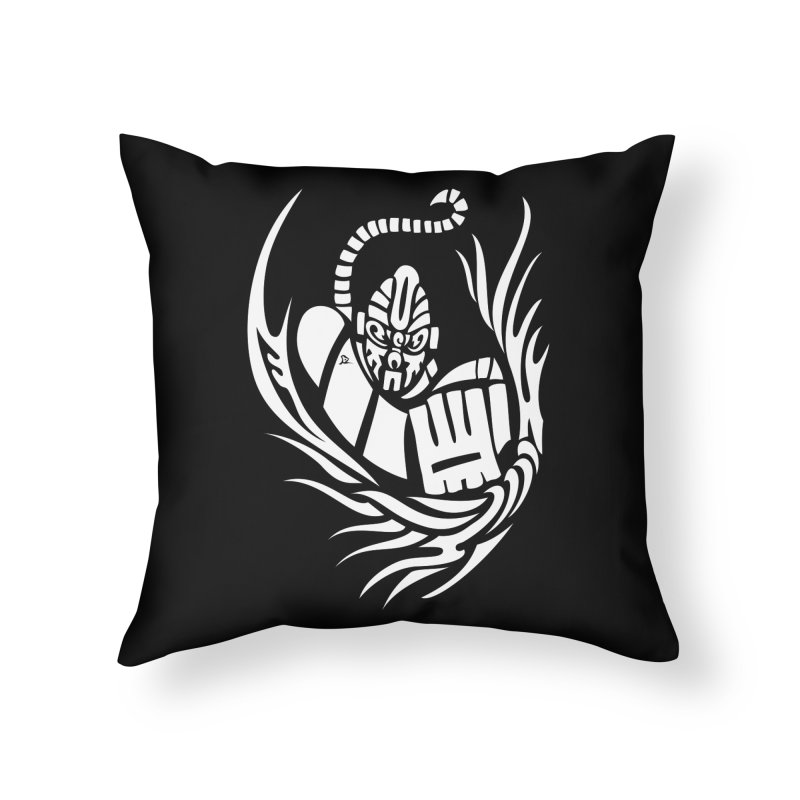 Anokong White Home Throw Pillow by DuMBSTRaCK CLoTH iNK PROJECT