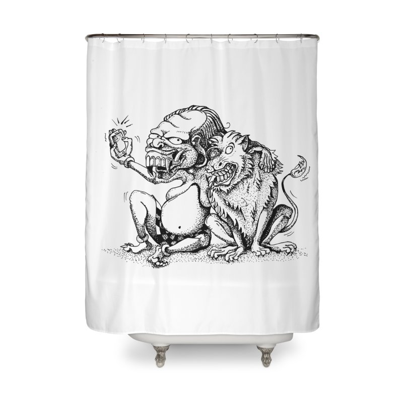 Celuluk Leo Home Shower Curtain by DuMBSTRaCK CLoTH iNK PROJECT