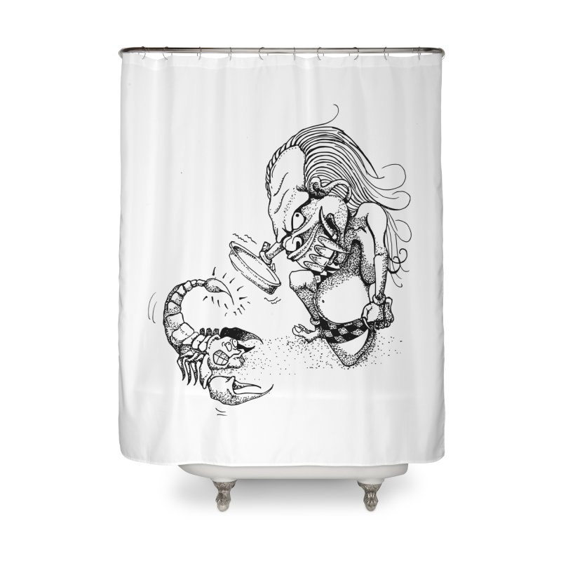 Celuluk Scorpio Home Shower Curtain by DuMBSTRaCK CLoTH iNK PROJECT