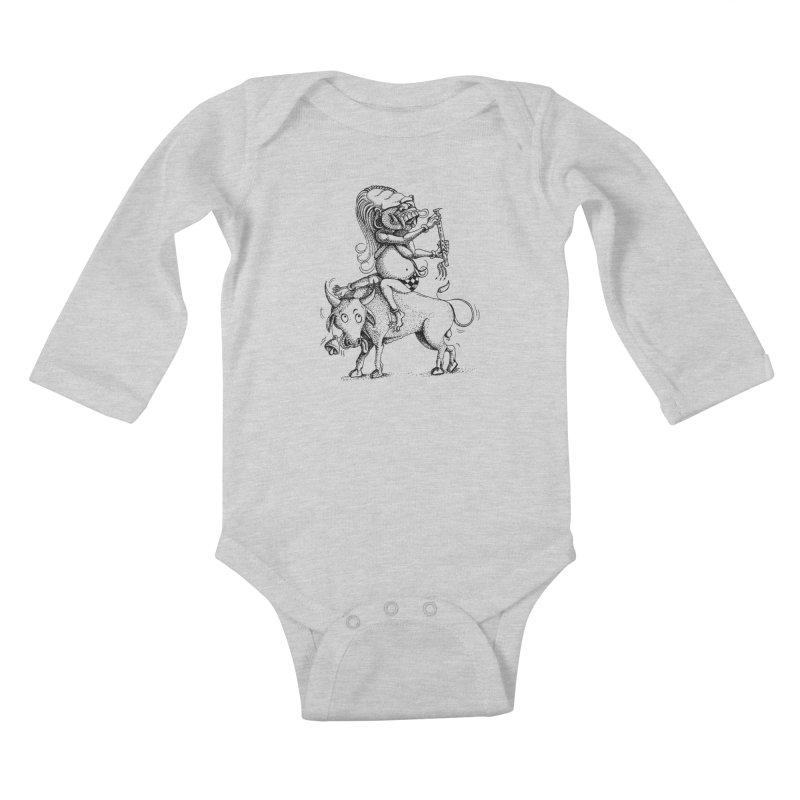 Celuluk Taurus Kids Baby Longsleeve Bodysuit by DuMBSTRaCK CLoTH iNK PROJECT
