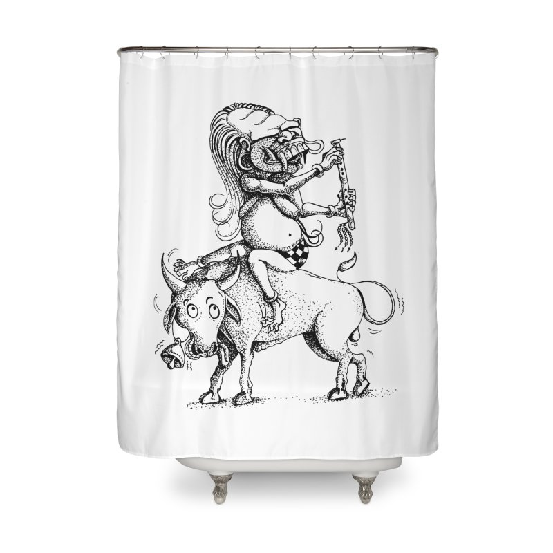 Celuluk Taurus Home Shower Curtain by DuMBSTRaCK CLoTH iNK PROJECT