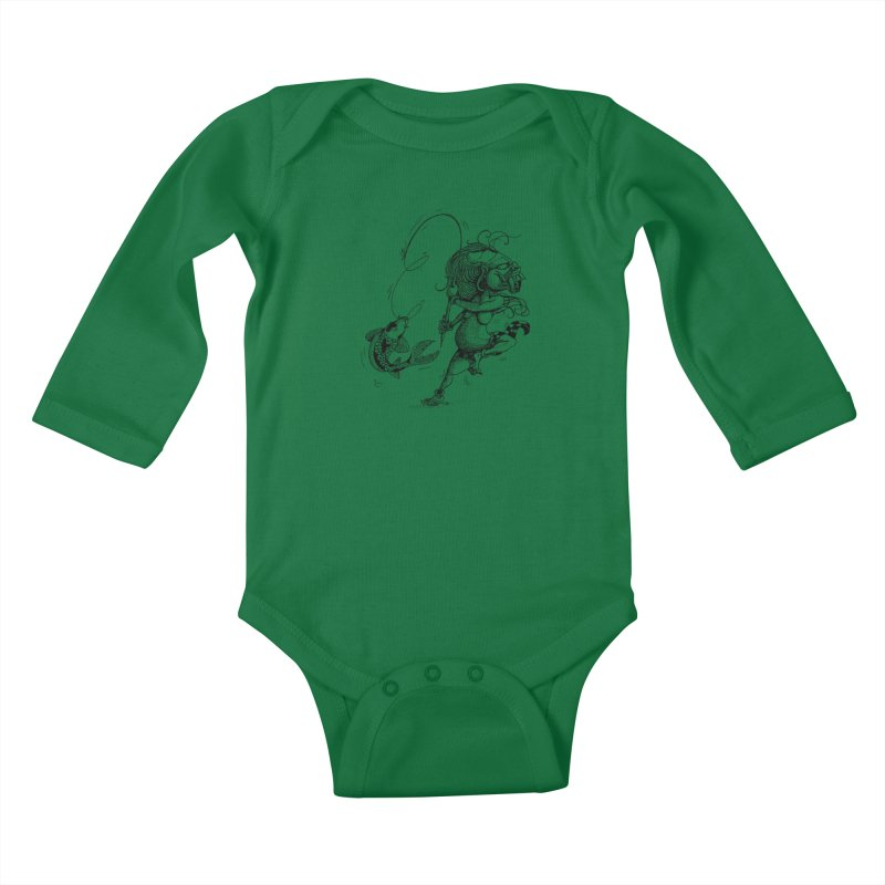 Celuluk Pisces Kids Baby Longsleeve Bodysuit by DuMBSTRaCK CLoTH iNK PROJECT