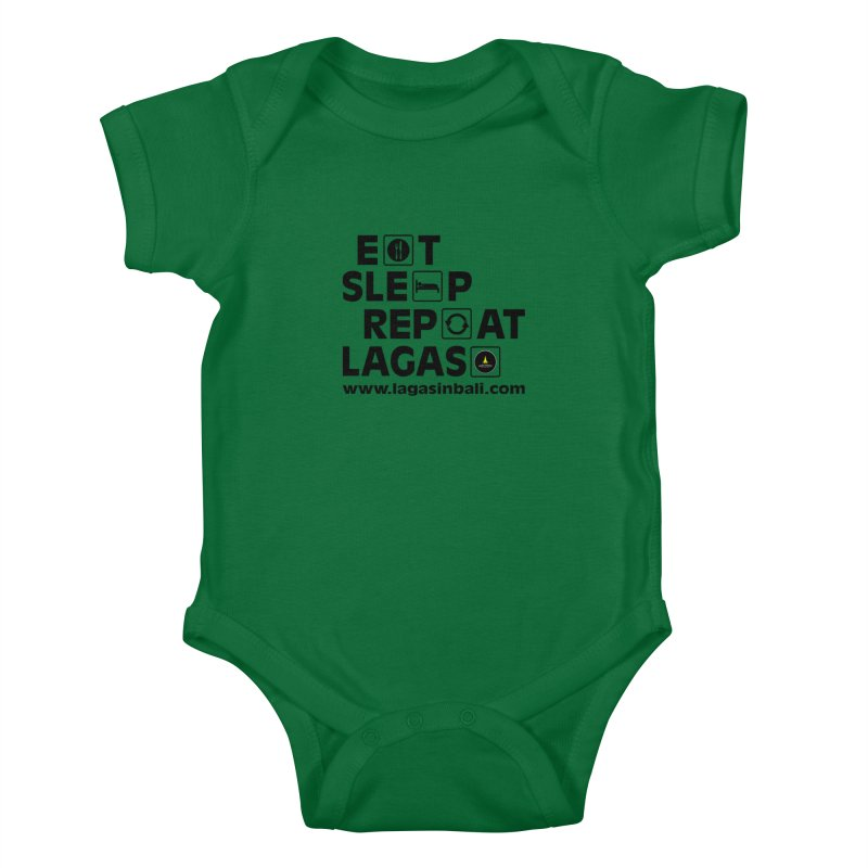 Eat Sleep Repeat Lagas Hostel Kids Baby Bodysuit by DuMBSTRaCK CLoTH iNK PROJECT