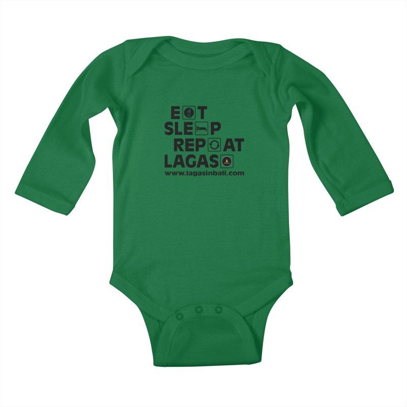 Eat Sleep Repeat Lagas Hostel Kids Baby Longsleeve Bodysuit by DuMBSTRaCK CLoTH iNK PROJECT