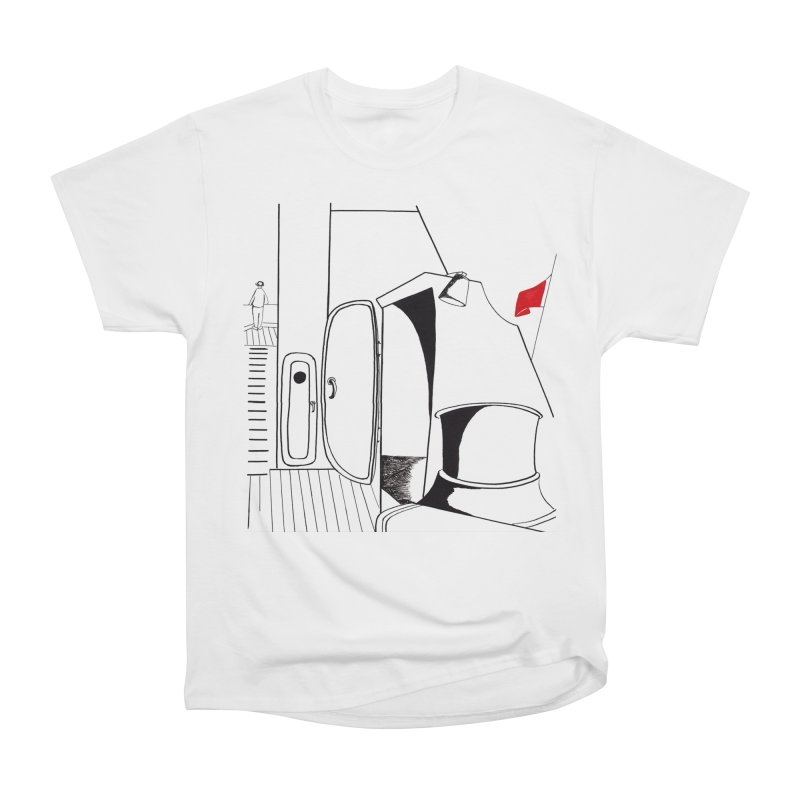 On Deck/Nautical Pen and Ink Drawing Men's Heavyweight T-Shirt by duocuspdesign Artist Shop