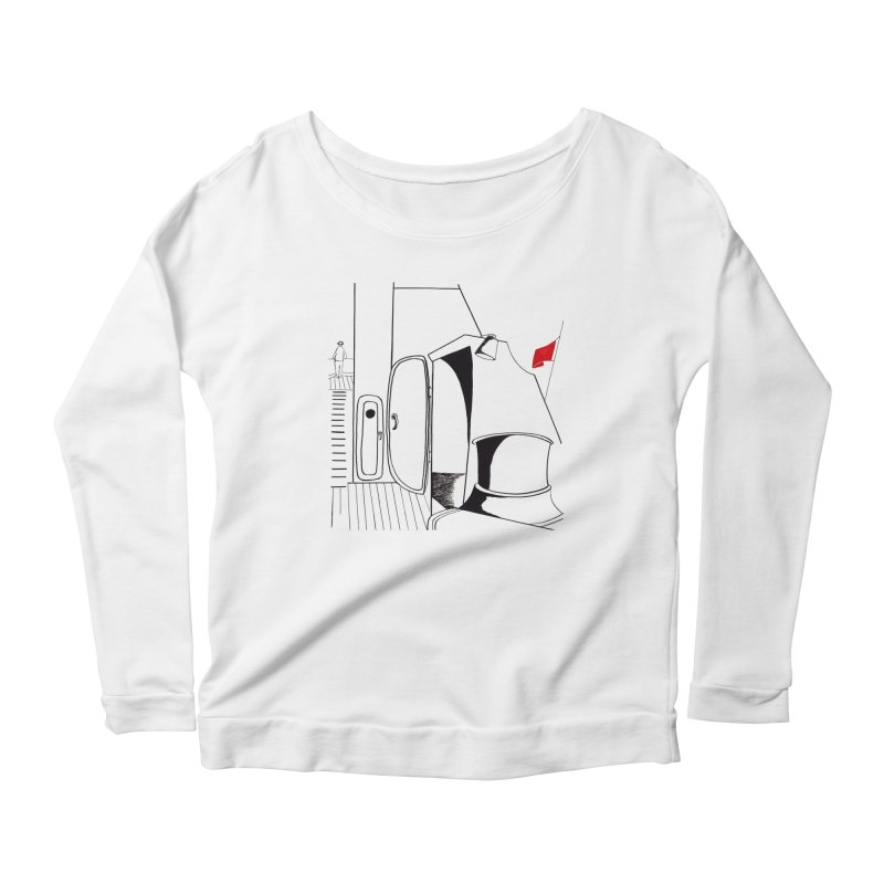 On Deck/Nautical Pen and Ink Drawing Women's Scoop Neck Longsleeve T-Shirt by duocuspdesign Artist Shop