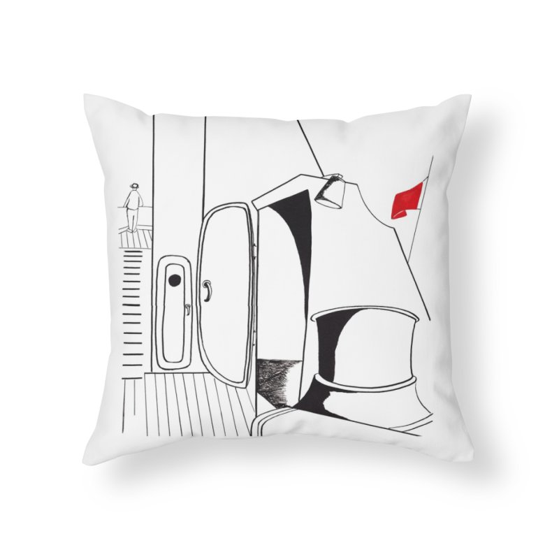 On Deck/Nautical Pen and Ink Drawing Home Throw Pillow by duocuspdesign Artist Shop