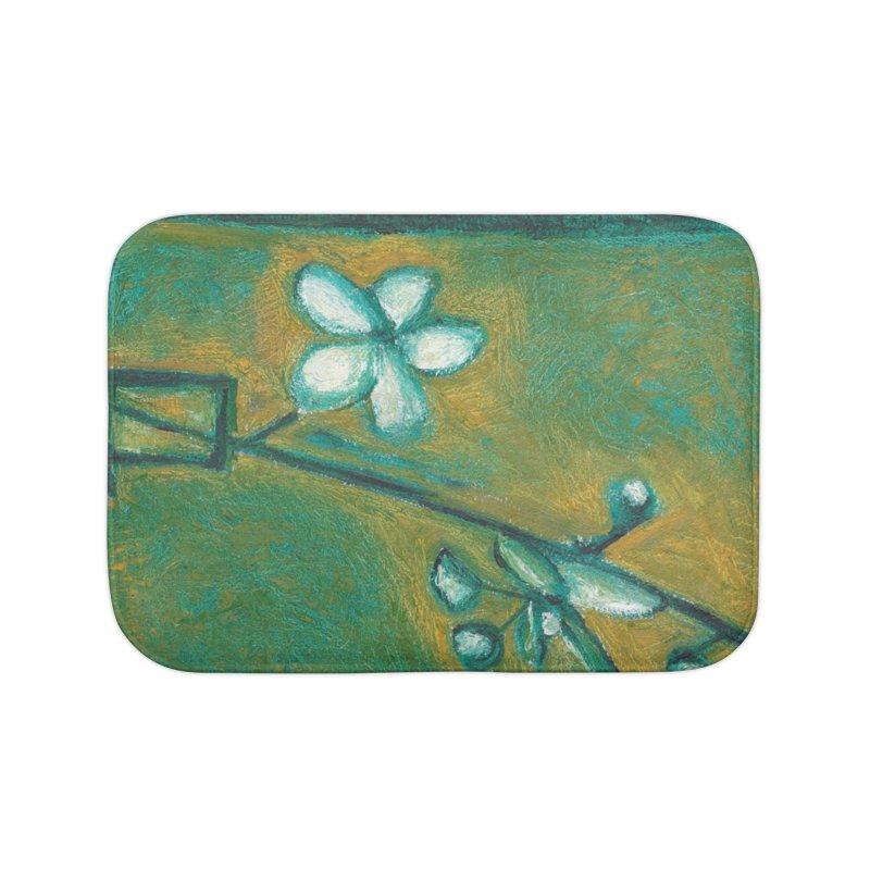 White Flowers in Glass Home Bath Mat by duocuspdesign Artist Shop
