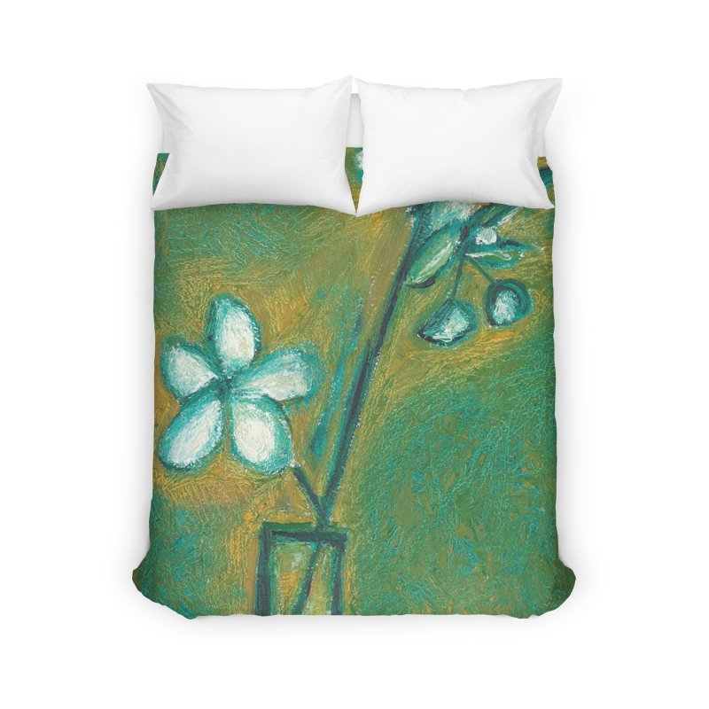 White Flowers in Glass Home Duvet by duocuspdesign Artist Shop