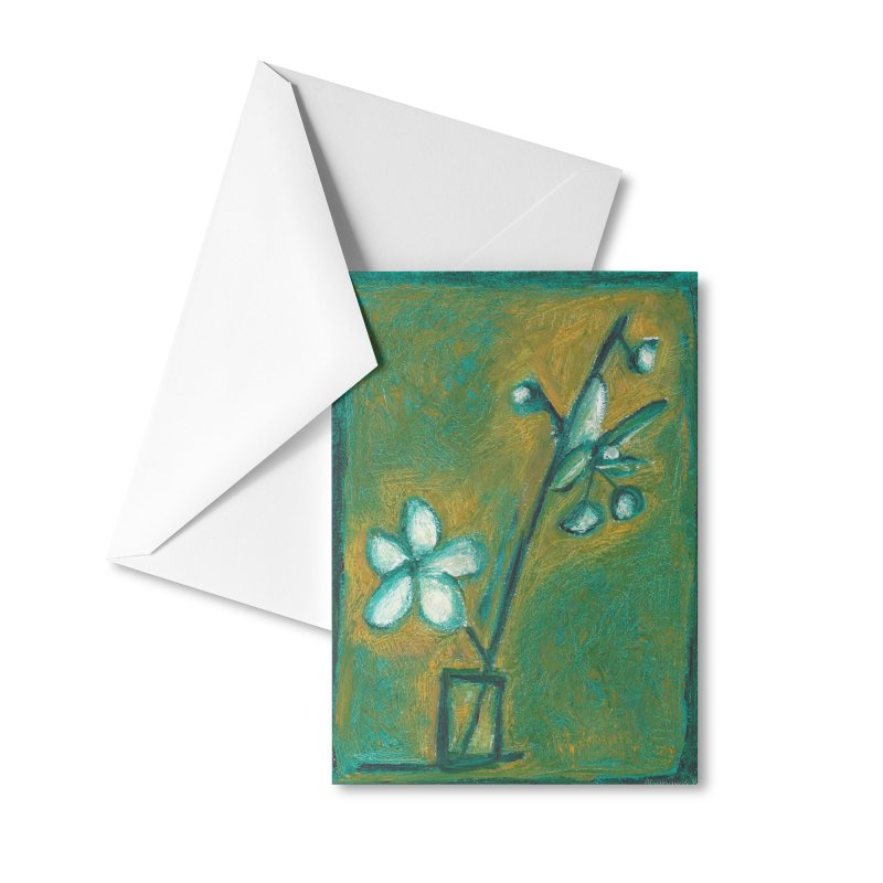 White Flowers in Glass Accessories Greeting Card by duocuspdesign Artist Shop