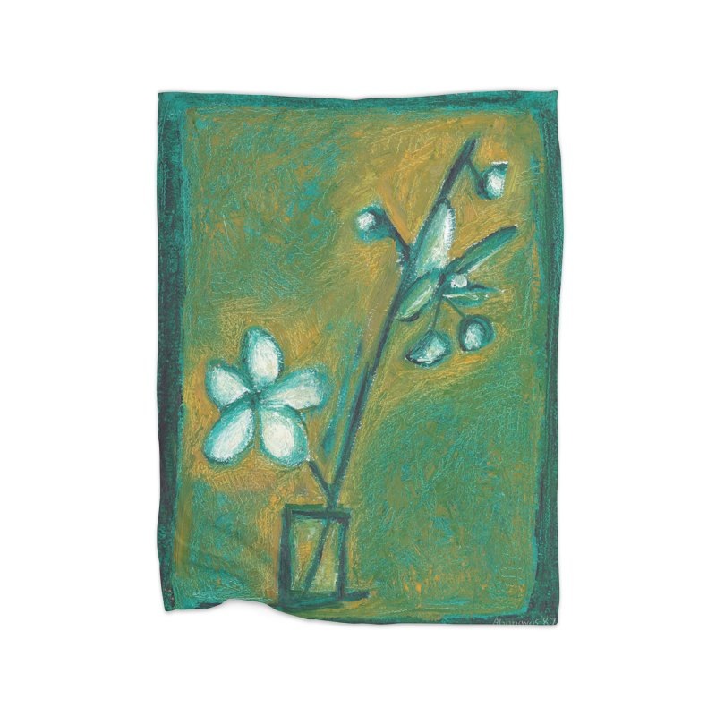 White Flowers in Glass Home Fleece Blanket Blanket by duocuspdesign Artist Shop